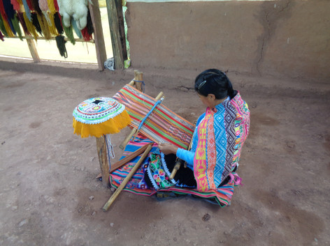 Textile weaving demonstration, Peru May 2017