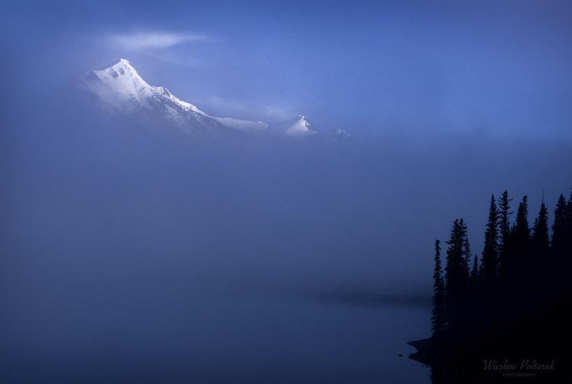 Mt. Indefatigable in fog, Kananaskis Country