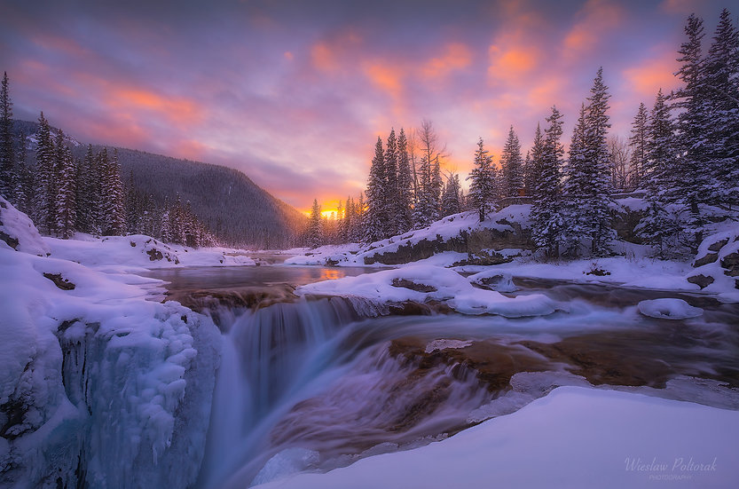 Winter Elbow Falls, Kananaskis Country