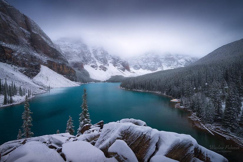 Moraine Lake - In White, Banff National Park