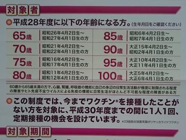 平成28年度肺炎球菌ワクチン接種について