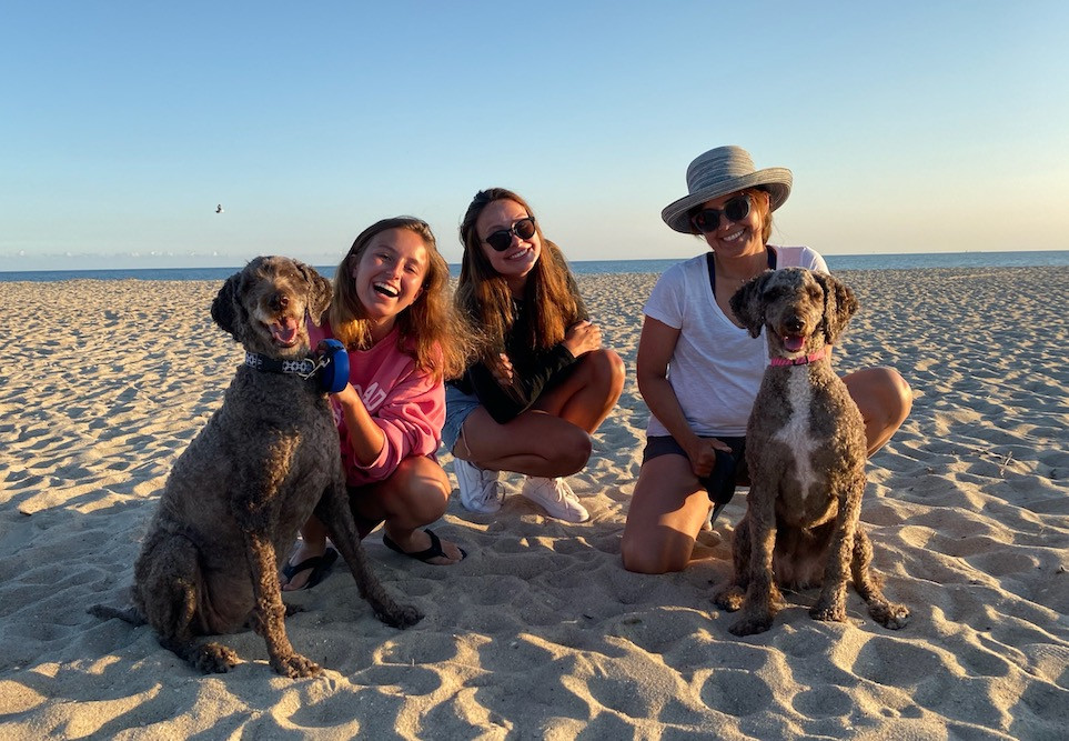 Two of my girls and our ornery poodles with me on a wonderfully secluded beach trip to the beautiful Bald Head Island in July.