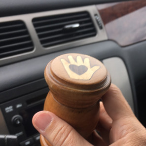 My heart-in-hand gavel commissioned from my close friend, folk artist Tom King, the heart-in-hand symbol represents how I approach life and work - hands to work and heart to God.