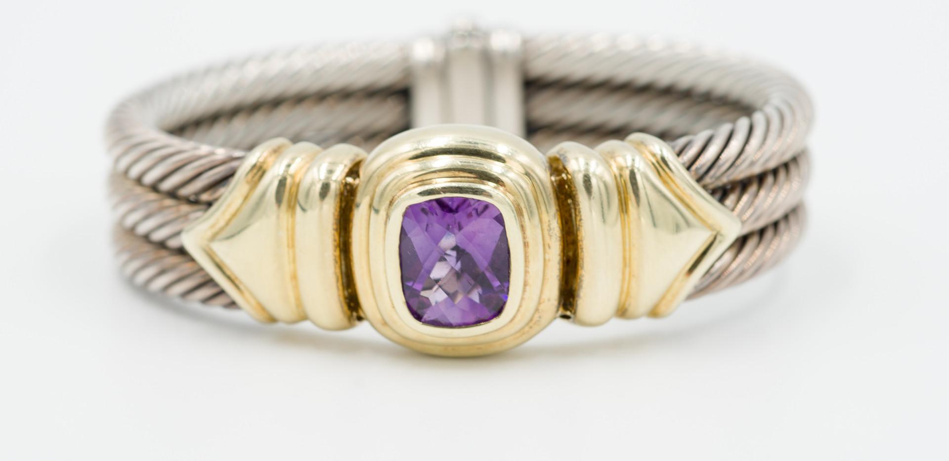 David Yurman Sterling, Gold, and Amethyst Bracelet