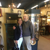 """With friend and mentor, Peter Chillingworth, at the Antiques Center of Strabane. It is hard for me to say if I am """"in it"""" more for the people or the things. Probably the people."""