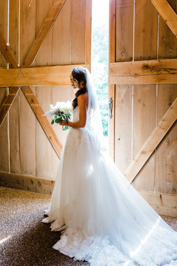 Bridal portrait with doors