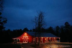Event barn at night
