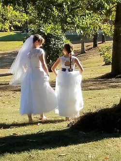 Walking to the ceremony