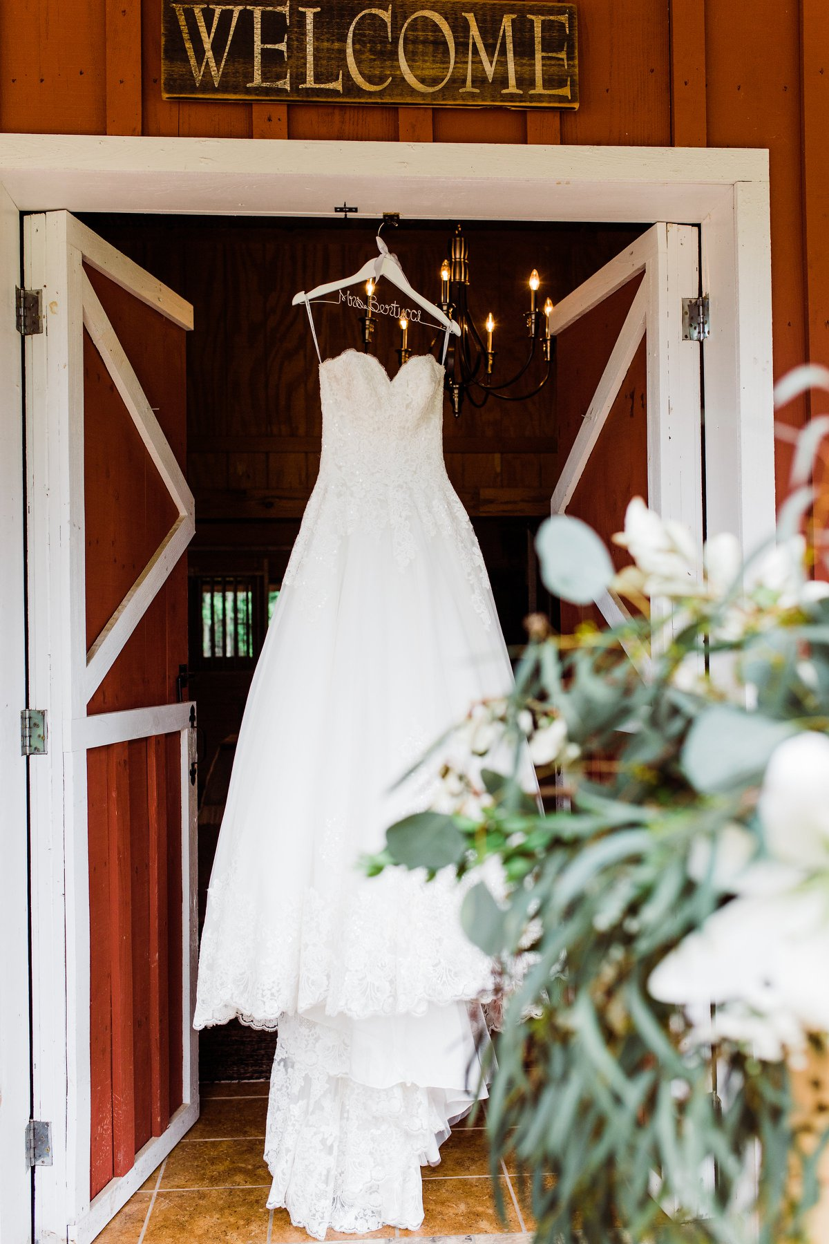 Wedding dress at door