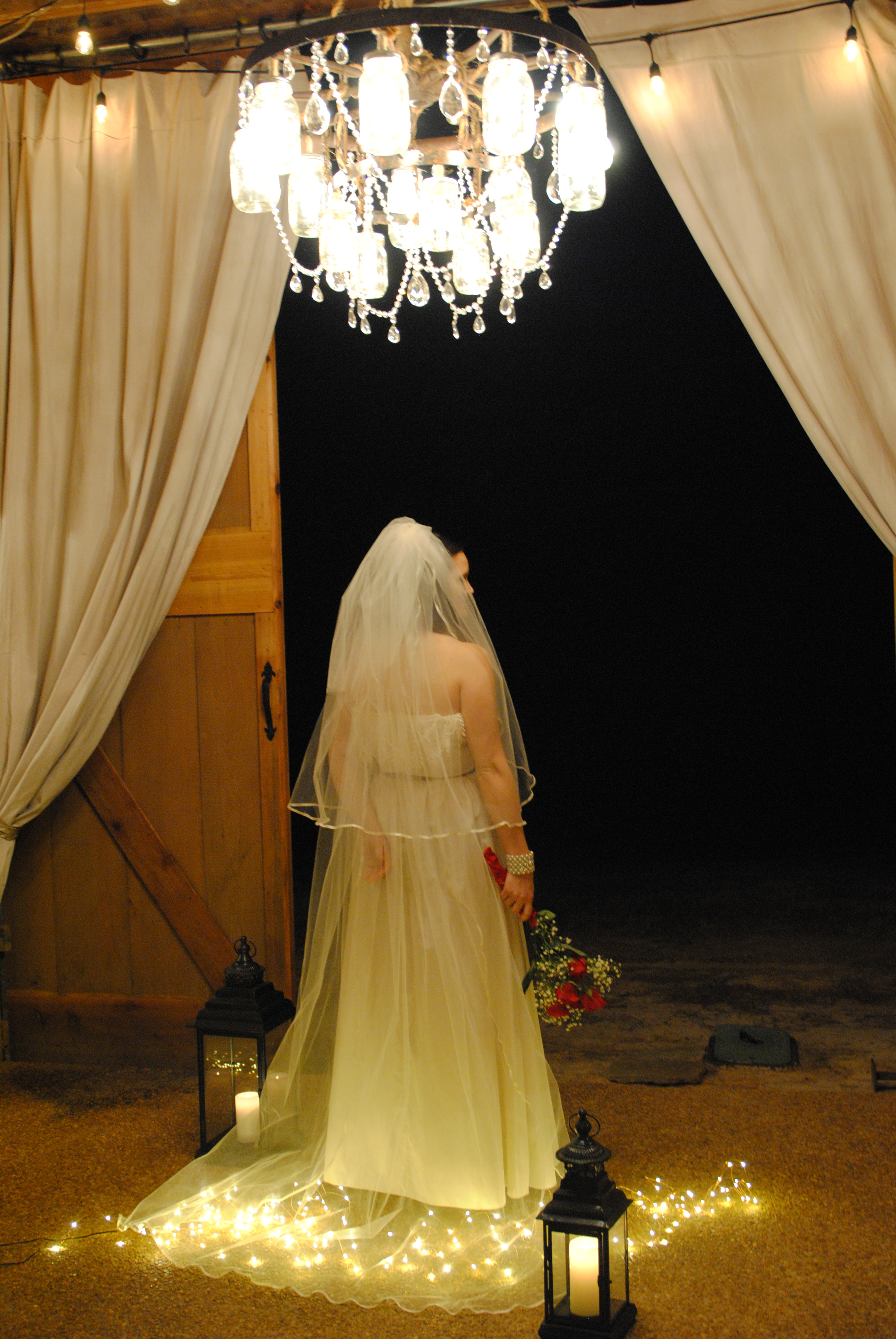 Bride with curtains