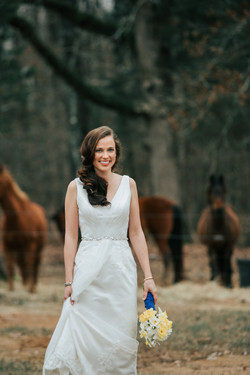 Bridal portrait with horses