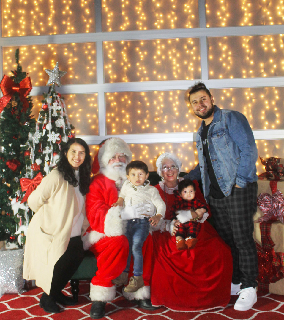 Jacqui's family with Santa