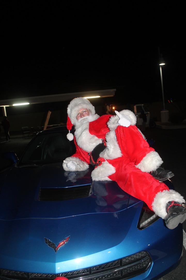 The Real Santa on his Corvette