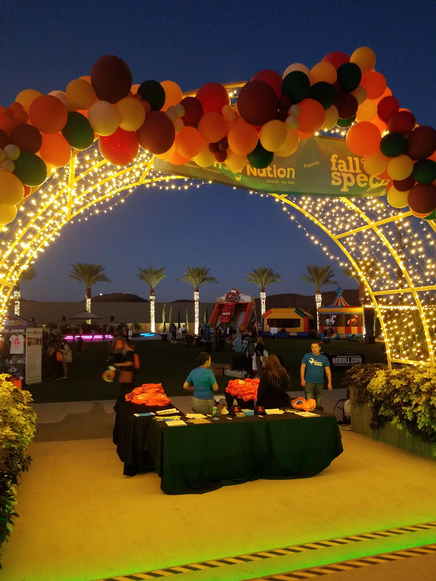 The event entrance after dark