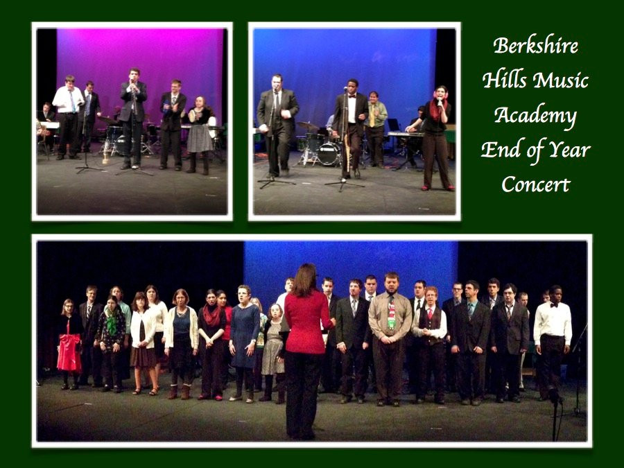 Image of a poster promoting the Berkshire Hills Music Academy End of Year Concert, featuring three images of ensembles performing at the stage at HCC.