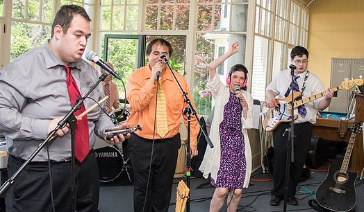 Image of Jeremy Swartz, Etienne Perley, Tori Ackley, and Marco DiSantis performing on the BHMA porch.