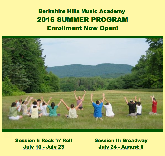 Flyer promoting 2016 Summer Program open enrollment, featuring a photo of a yoga class in the backyard.