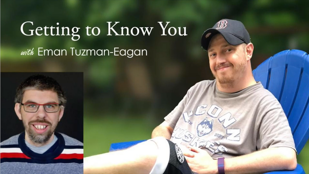 """Image of Eman Tuzman-Eagan sitting on a blue Adirondack chair, with text reading """"Getting to Know You with Eman Tuzman-Eagan;"""" a headshot of Joey Gagnon is visible in the lower left corner."""