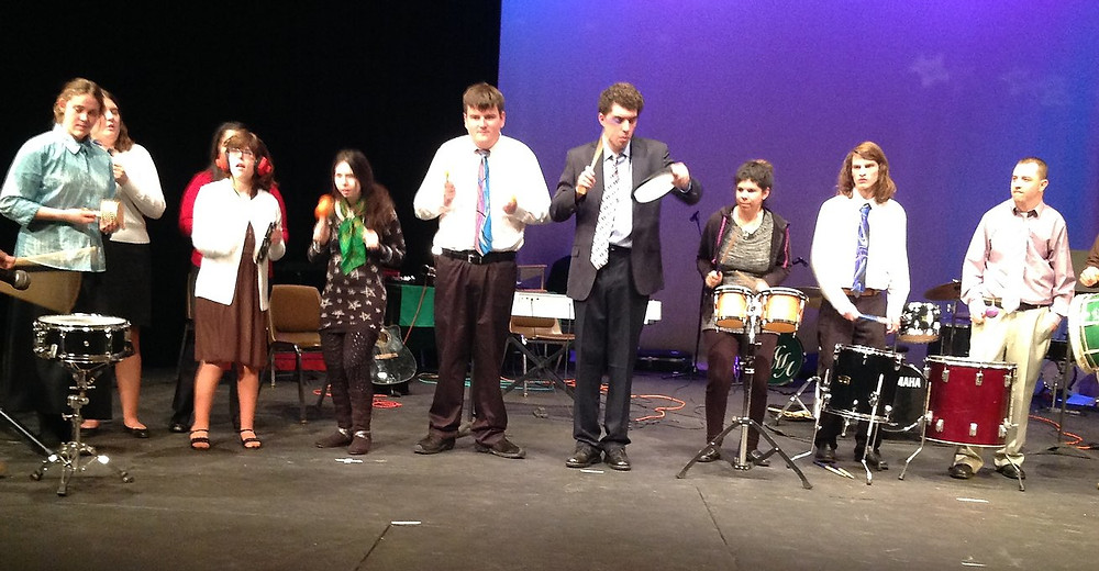 Image of an ensemble performing on stage at the winter concert.