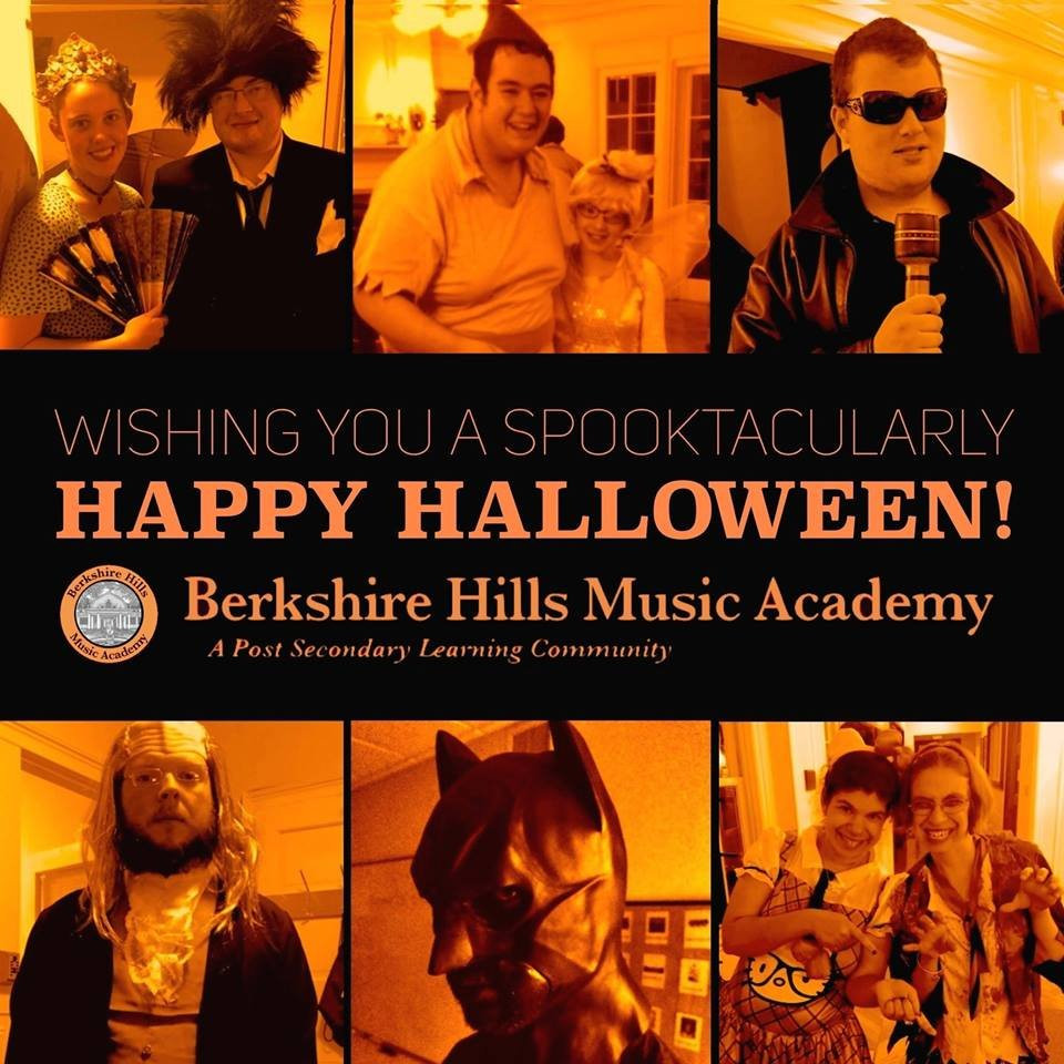 """Composite image of students dressed up for Halloween, featuring the text """"Wishing you a Spooktacularly Happy Halloween,"""" as well as the Berkshire Hills Music Academy logo and """"A Post Secondary Learning Community"""" tagline."""