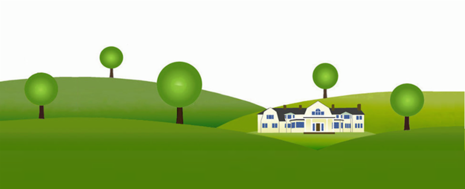Graphic image of BHMA's yellow Skinner Mansion, surrounded by green hills and five round trees.