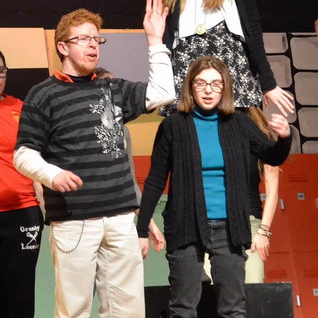 Image of Ben and Rachel rehearsing for the community theater production.