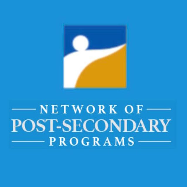 Logo for the Network of Post-Secondary Programs, featuring whit e text against a blue background, with a square int the middle that features dark blue and yellow surrounding the outline of a person in white.
