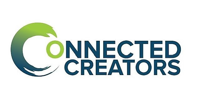 "Connected Creators logo, with the first ""C"" designed to look like a green-to-blue paint stroke. The ""o"" is green, and all other letters are navy blue against a white background."