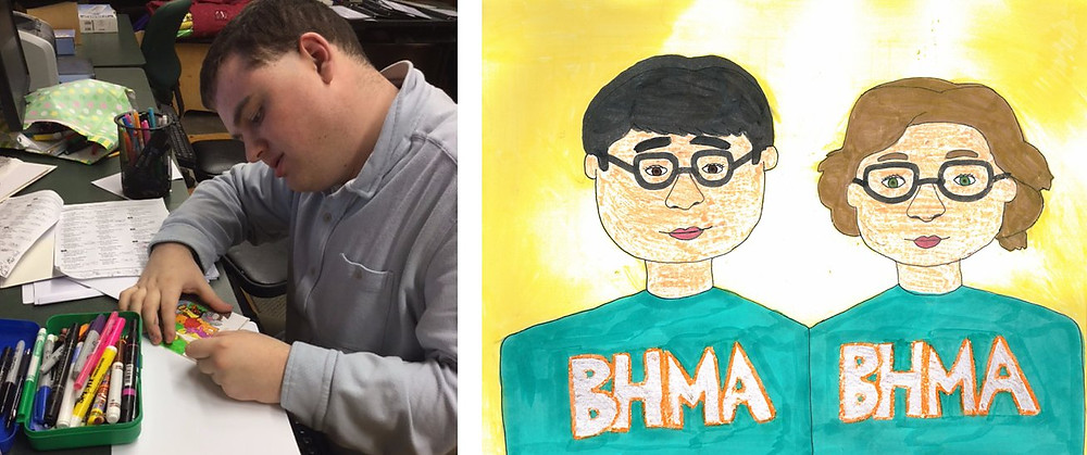 Image of Pat drawing with markers, next to an image he drew and colored of two students wearing BHMA sweatshirts.