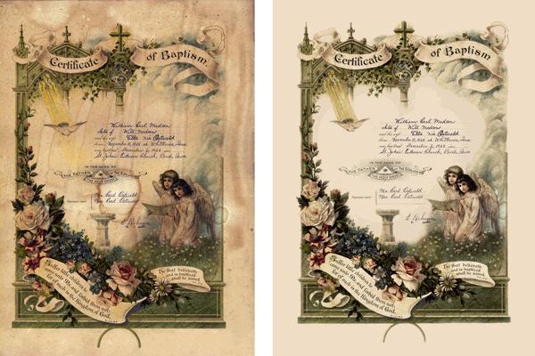 Baptism certificate restoration