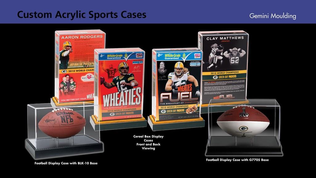 Acrylic cereal box, football cases