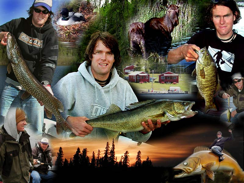 Fishing, vacation photo montage