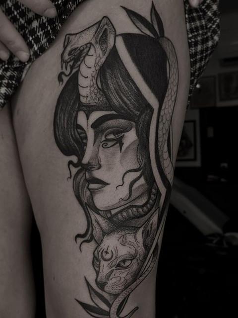 Black and grey neo lady tattoo.jpg