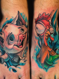 Pig and Rooster Tattoo