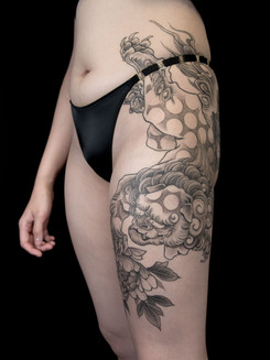 Foo Dog Thigh Tattoo