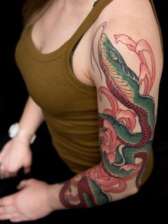 Chrysanthemum Snake Tattoo