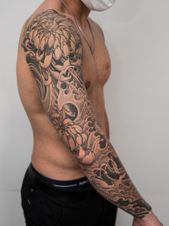 Black and Grey Japanese Tattoo