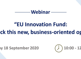 """Webinar Invitation """"EU Innovation Fund: How to unlock this new, business-oriented opportunity?"""""""