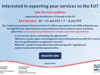 Invitation - Webinar on the EU-Canada Comprehensive Economic and Trade Agreement