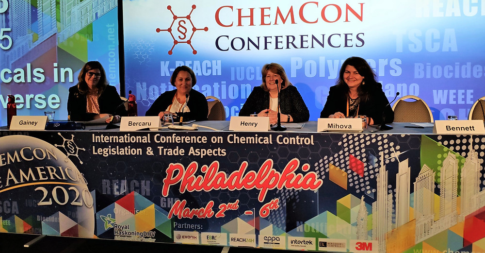 Mrs Mihova, Mrs Henry, Mrs Bercaru and Mrs Gainey speakers during Session 3 of ChemCon 2020 on Safe use of chemicals in the chemical universe