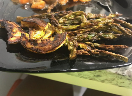 "Crispy Roasted Asparagus and Yellow Squash. Delicious Healthy Snack By Jamil ""Kitty"" Brown"