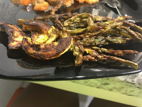 """Crispy Roasted Asparagus and Yellow Squash. Delicious Healthy Snack By Jamil """"Kitty"""" Brown"""