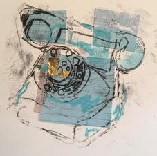 Blue retro phone