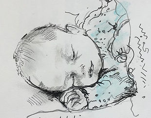 baby Zach ink and pencil