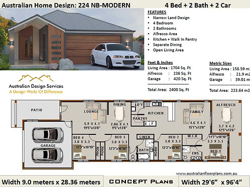 224ZeroModern-Narrow 4 Bed + Garage: 223.0 m2 2400 Sq.Foot | Concept House Plan