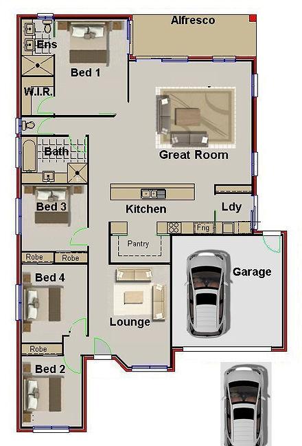 4 Bedroom + 2 Double Garage Plan227NB (3