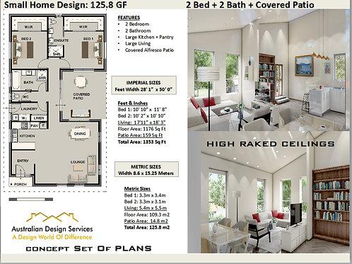 2 Bed + 2 Bath House Plan:125.8 | Small Home Design Concept House