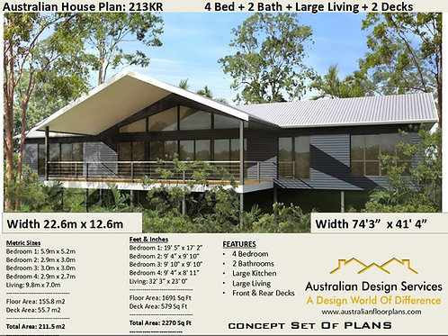 4 Bed Pole Home House Plan 213KR  : 211.5 m2 or 2270 Sq Feet