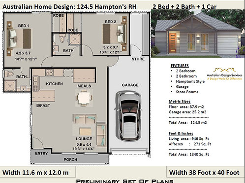 124 CLM-2 Bed + 2 Bath + Garage:193.07 m2 | Preliminary House Plan Set