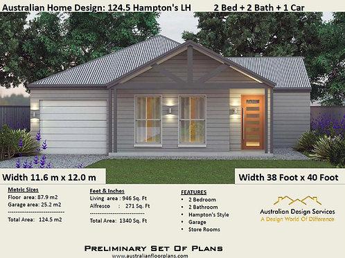 124.5-2 Bed + 2 Bath Hampton's:124.5 m2 | Preliminary House Plan Set